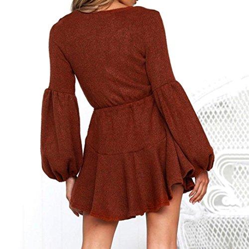 Damen Rock Chiffon Mädchen Lose V-Ausschnitt Kleider Frauen Mode Langarm  Knielang Kleid Minikleid mit ... 187415e646