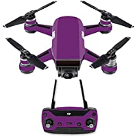 Skin for DJI Spark Mini Drone Combo - Solid Purple| MightySkins Protective, Durable, and Unique Vinyl Decal wrap cover | Easy To Apply, Remove, and Change Styles | Made in the USA