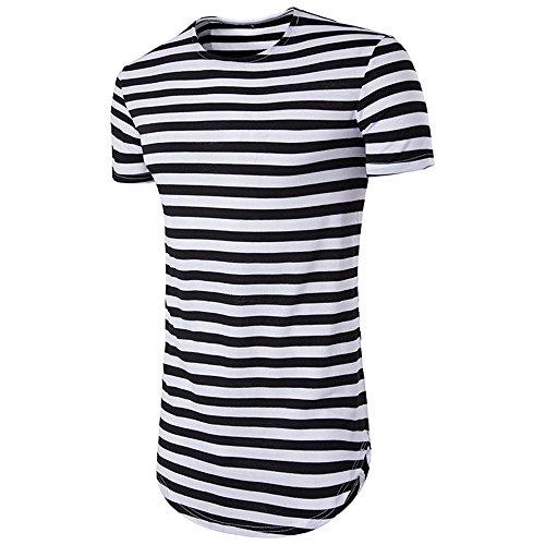 NiuZi Men's Retro Black & White Striped Hipster Hip Hop Ripped T Shirt Short/Long Sleeve Round Hemline Causal T-Shirt (Black, L) by NiuZi