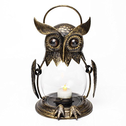 Vintage Owl Tealight Holder, Hanging Lantern for Outdoor & Indoor Party Décor, Owl lover, Birthday Gift, Gold (Tealight Included)