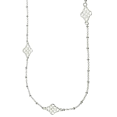 8e72700e6dd43 Image Unavailable. Image not available for. Color  Sterling Silver Floral  Link Station Long Necklace ...