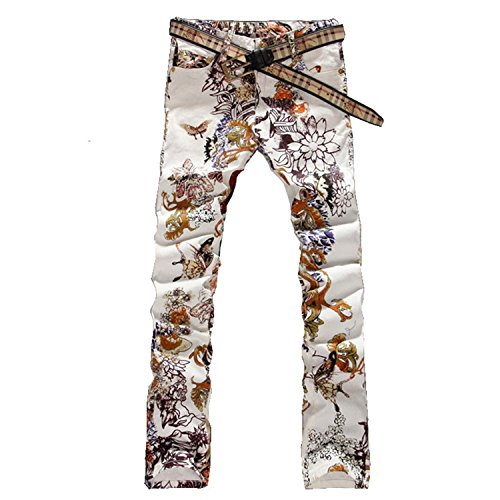 George Gouge Men's Fashion Jeans Male Slim Colored Drawing Flower Printed Long Trousers Denim Pants Fancy 33 - Fancy Pants Flower