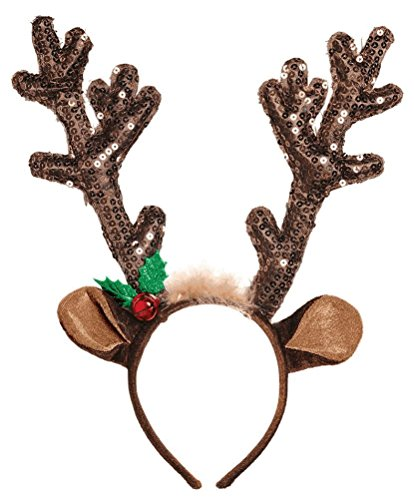 - Amscan Fun-Filled Christmas & Holiday Party Reindeer Antler Headband, Brown, Fabric, 13 1/2
