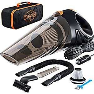 Portable Car Vacuum Cleaner: High Power Corded Handheld Vacuum w/ 16 foot cable – 12V – Best Car & Auto Accessories Kit for Detailing and Cleaning Car Interior