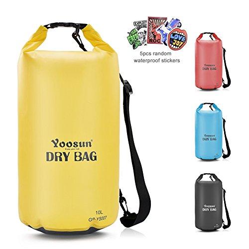 YOOSUN Waterproof Dry Bag, 10L/20L/30L/40L Dry Bag,Adjustable Shoulder Strap Waterproof Floating Dry Gear Bags for Kayaking, Swimming,Rafting, Boating, Hiking, Camping and Fishing(10L,Yellow)