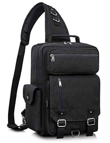 Leaper Messenger Bag Water-Resistant Sling Bag Outdoor Cross Body Bag Shoulder Bag Black
