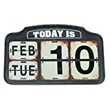 NIKKY HOME Shabby Chic Metal Perpetual Flip Desk Calendar Distressed Finish, Black 16 by 9 Inches Review