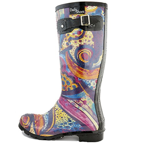 DailyShoes Damen Mittelkalb Kniestrumpf Hunter Regen Round Toe Rainboots Monet