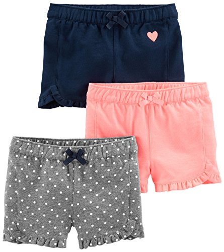 - Simple Joys by Carter's Baby Girls' Toddler 3-Pack Knit Shorts, Pink.Gray, Navy, 3T