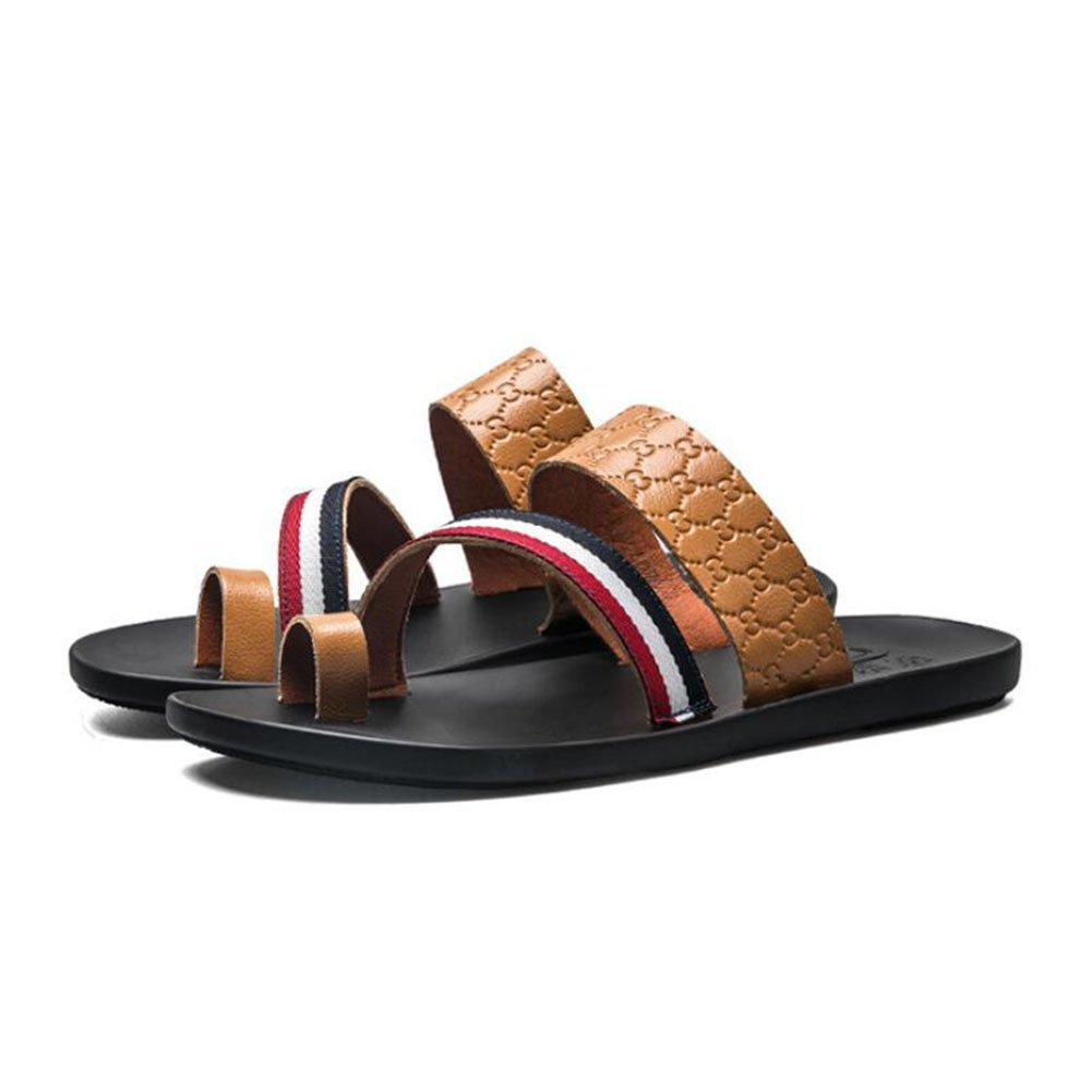 CAI Männer Outdoor Strand Flip Flops Sommer Herren Komfort Hausschuhe/Sandaleen (Farbe : Braun, Größe : 42)