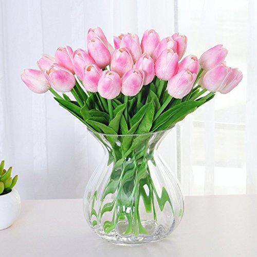 ... De Flores De Tulipán Flores Artificiales Kit Salón Decorado Con Ornamentos, Flores De Color Rosa (30 Tulip Soporte + Una Botella-Fu): Amazon.es: Hogar