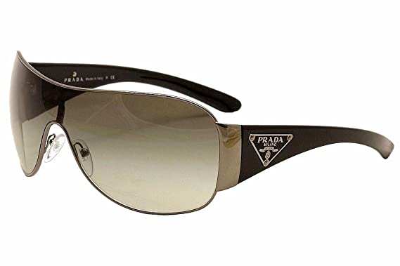 NEW AUTHENTIC MEN WOMEN PRADA SPR 57L 5AV3M1 BLACK SILVER SHIELD SUNGLASSES d5e877903f6f