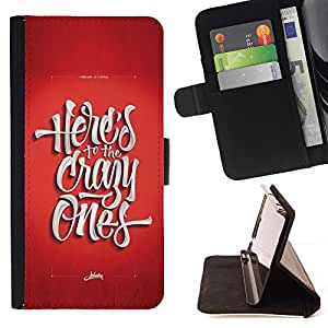 Momo Phone Case / Flip Funda de Cuero Case Cover - Los locos Funky rojo impresiones texto fresco - HTC One M9