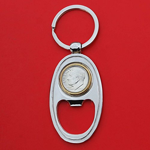 (US 1947 Roosevelt Dime 90% Silver 10 Cent Gem BU Uncirculated Coin Gold Silver Two Tone Key Chain Ring Bottle Opener NEW)