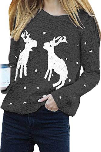 2 Al One Natale Ogni Le Renne Maglioni Giorno Nimpansa Casacca Donne Manica Grey Size Lunga Massimo ATBtFq