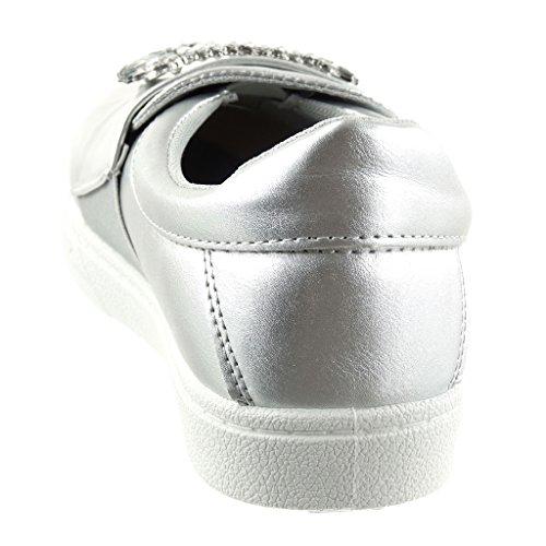 Angkorly Women's Fashion Shoes Trainers - Slip-on - Jewelry - Rhinestone Flat Heel 2.5 cm Silver Mf85Pa