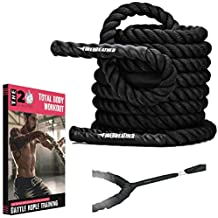 Battle Ropes & Anchor KIT. Full Body Workout Equipment to Lose Fat & Boost Strength. Fast & Efficient Training in Less Than 20 Minutes. Premium 1.5 Inch Heavy Rope in 30, 40 & 50 Ft