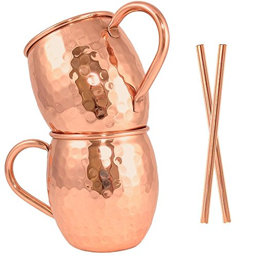 Moscow Mule Copper Mug Set of 2 with Copper Straws by Artisan's Anvil - Handmade Solid 100% Pure Copper Mugs with Hammered Barrel Finish - 16 oz Unlined Drinking Set ()