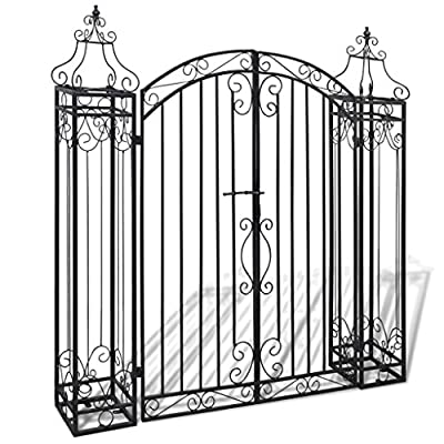 Ornamental Garden Gate, Elegant Vintage Style Durable Metal Doors, Classic Outdoor Driveway Entryway 4'x8 x4' 5""