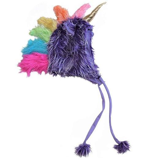37251ab8efc3c Amazon.com  Plush Soft Fuzzy Unicorn Child Teen Hat (One Size ...
