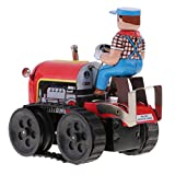 MagiDeal Classic Farm Tractor Tin Toy Collectible Clockwork Wind Up Toys Children Adult Gifts