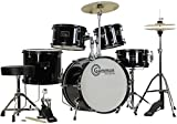 Complete 5-Piece Black Junior Drum Set with Cymbals Stands Sticks Hardware and Stool