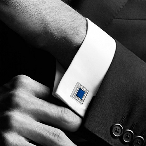 MERIT OCEAN Blue Navy Swarovski Crystal Square Cufflinks for Men Classical Swarovski Cuff Links with Gift Box Elegant Style by MERIT OCEAN (Image #2)