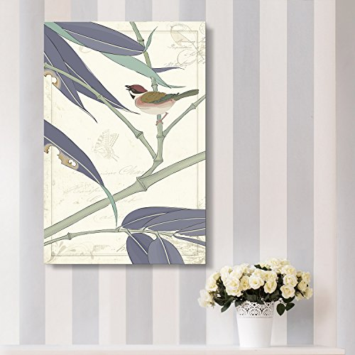 Vintage Style Bird Standing on Bamboo Branch Floral Background