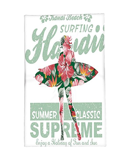 Interestlee Fleece Throw Blanket Hawaiian Decorations Collection Tropical Hawaii Hibiscus Surfing Girl Silhouette Surfboard Retro Themed Artprint Coral Green by Interestlee
