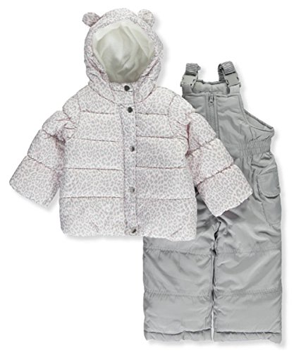 Carter's Baby Girls 2-Piece Snowsuit With Ears, Pink Leopard/Dove Grey, 12M