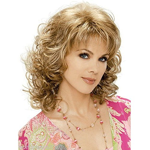 Royalfirst Women's Short Layered Wigs with Air Bangs Curly Syntheitc Golden Blonde Hair Wig