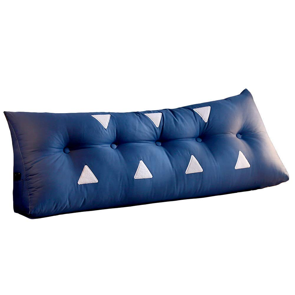 PENGFEI Bed Back Cushion Bedside Sofa Upholstered Relieve Waist Disease with Storage Bag 9 Colors, 4 Size (Color : Dark Blue, Size : 120x22x50CM)