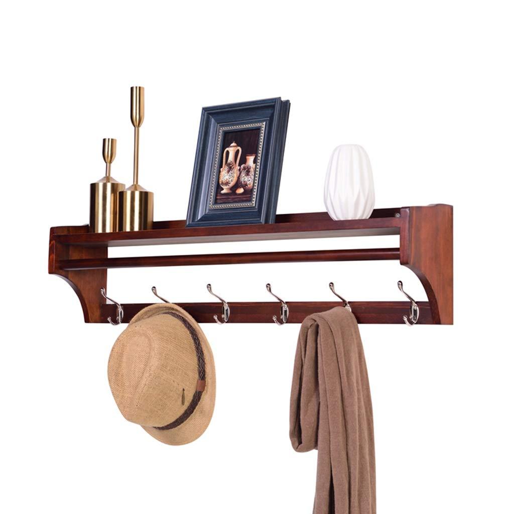 Brown 6 hooks Coat and Hat Rack Wall Mounted with Floating Shelf, Wood Wall Storage Shelf with Garment Hanger Rod and Metal Hooks for Heys Hallway, Bathroom, Living Room, Bedroom