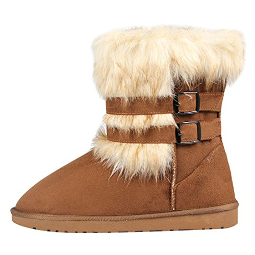 Faux Fur Toe Buckle Snow Chic Camel Boots Round Women ASVOGUE vqwUpwO