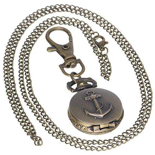 Vintage Brass Antique Anchor Case Pocket Watch 1 PC Necklace 1 PC Key Clip Quartz Pendant Watch Fob Nurse -
