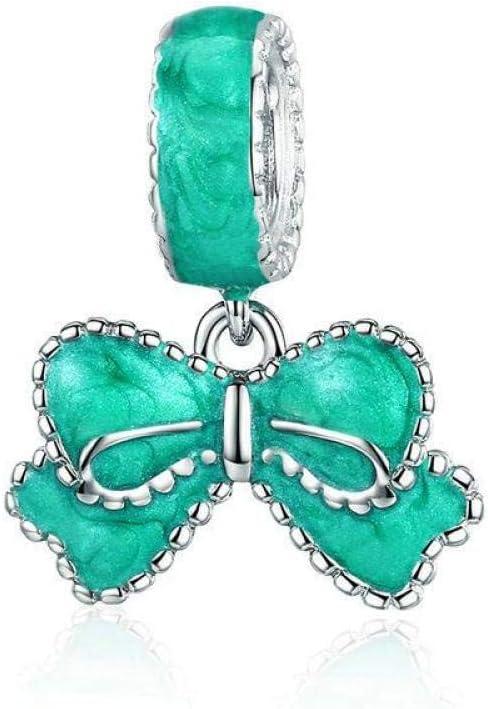 Angelazy Colgantes De Plata 925 para Mujer,Moda Cute Chainless Romántica Forma De Lazo Esmeralda Encante para Damas Accesorios Joyas Regalo De Cumpleaños Parte Accesorios
