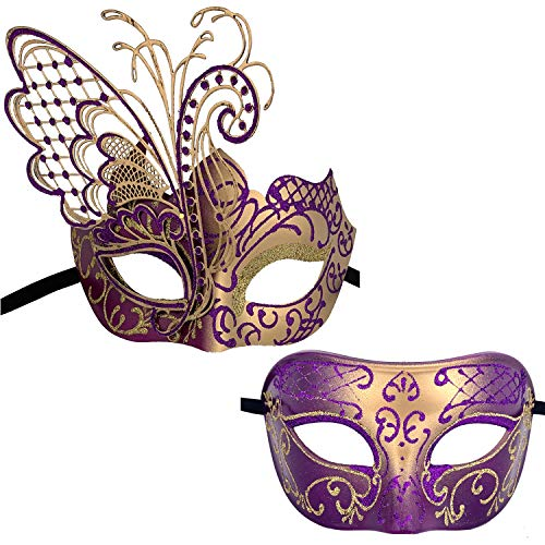 Xvevina Couples Pair Mardi Gras Venetian Masquerade Masks Set Party Costume Accessory (Purple Gold Couples)