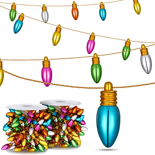 Christmas tree bulb garland Beads Assorted Color Bulb Christmas Decorative Bulb Garlands Without Electricity for Parties Craft Projects (Garland Mini Christmas)