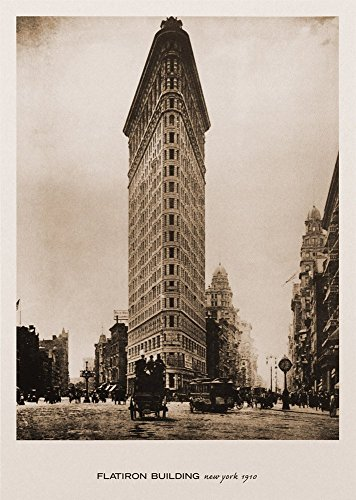 Flatiron Building, New York, 1910. Black & White Sepia Photo Print Poster (16