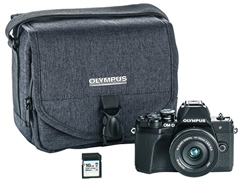 Olympus OM-D E-M10 Mark III camera kit with 14-42mm EZ lens (black), Camera Bag & Memory Card, Wi-Fi enabled, 4K (Olympus Imaging Kit)