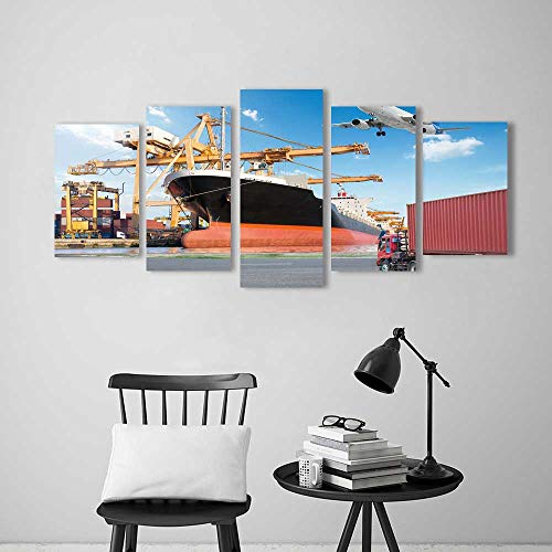 Loading Bridge (Five Pieces Wulian Painting Living Room Decoration Frameless Container Cargo Freight Ship with Working Crane Loading Bridge in Port for Living Room Office Decor Gift)