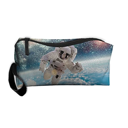 Kla Ju Portable Pen Bag Purse Pouch Astronaut In Space Stationery Storage Organizer Cosmetic Holder -