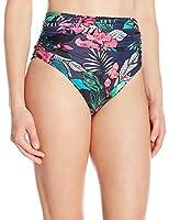 Coastal Blue Women's Swimwear Shirred High Waist Bikini Bottom, Tropical Print, L (12-14)