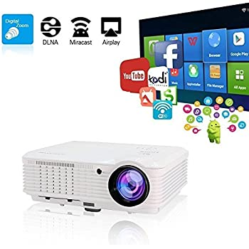 "Video Projectors WiFi Wireless, 200"" Android Home Cinema Theater Projector HD 3600 Lumen, LCD LED Projector 1080P for TV Smartphone iPhone Laptop Tablet Blu-ray DVD Player PS3 PS4 XBOX USB SD VGA AV"