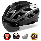 KINGLEAD Cycle Helmet with Shield Visor, Unisex Protected Bike Helmet for Bike Riding Racing Skateboarding Outdoors Sports Safety Superlight Adjustable Bicycle Helmet with CE Certificate(Black white)