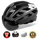 Shinmax Adults Bike Helmet, MTB Bike Helmet Men With Removable Shield Visor/Detachable Safty Rear Led Light