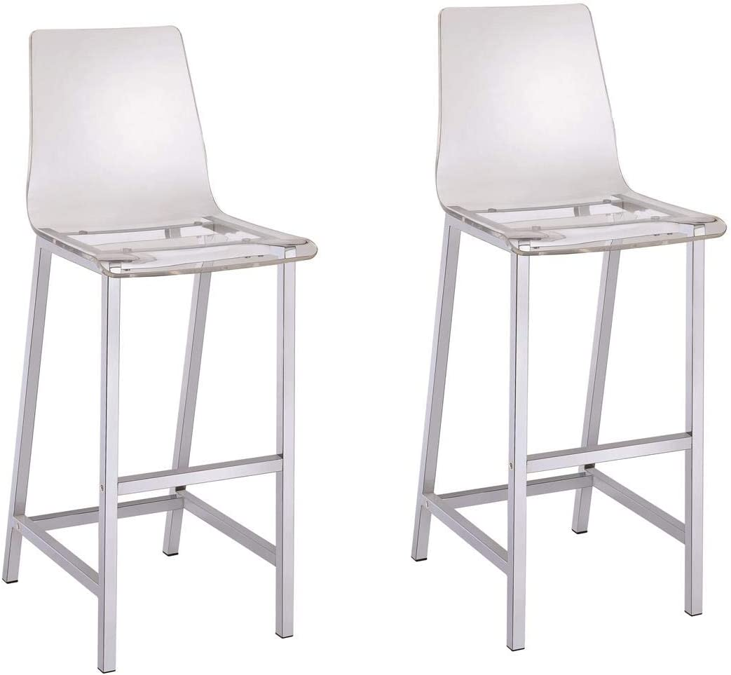 Bar Stools Chrome and Clear (Set of 2)