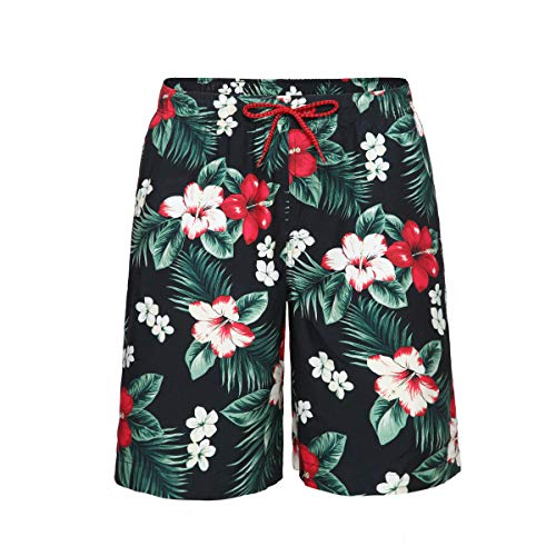Rokka&Rolla Men's Quick Dry Drawstring Waist Swim Trunks Board Shorts with Mesh Lining (L, Vintage Floral)