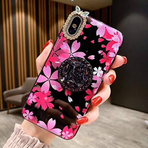 iPhone XR Case, iPhone XR Bling Ring Stand Case with Floral - Bling Diamond Airbag Bracket Kickstand Case with Pretty Flower Design Ultra Thin Slim Protective Cover for Women and Girls (Pink)
