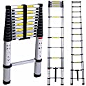 Loft Ladder, IDAODAN 12.5ft EN131 Aluminum Telescopic/Telescoping Extension Ladder with Spring Loaded Locking Mechanism Non-slip Ribbing, Professional Extendable Portable 330 pound Capacity
